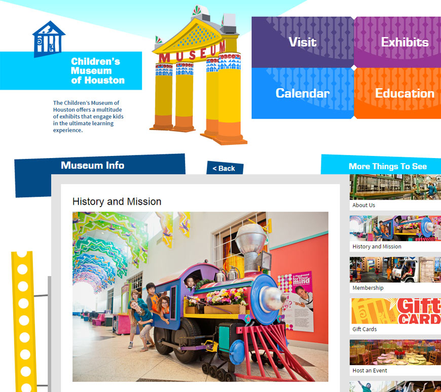Children's Museum of Houston Website: Detail Page