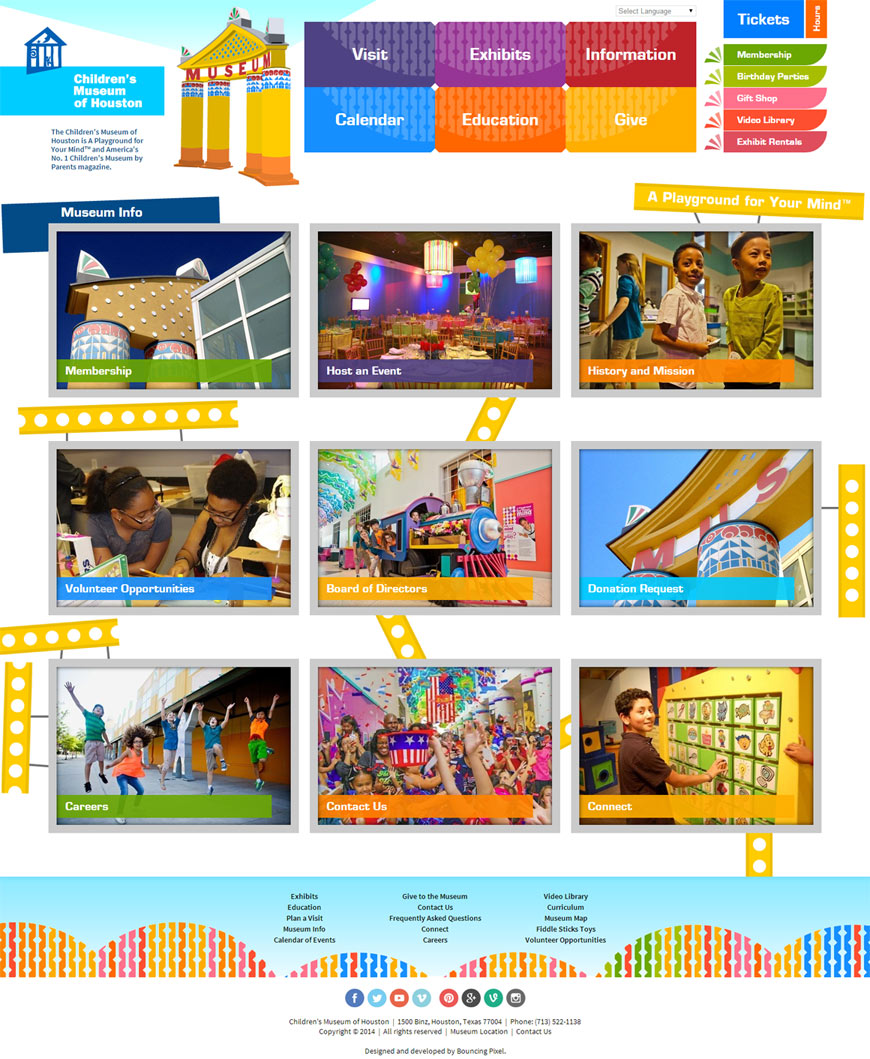 Children's Museum of Houston Website: Desktop Layout
