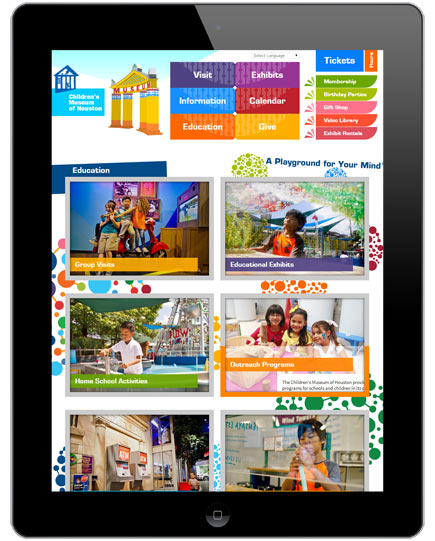Children's Museum of Houston Website: Tablet Layout