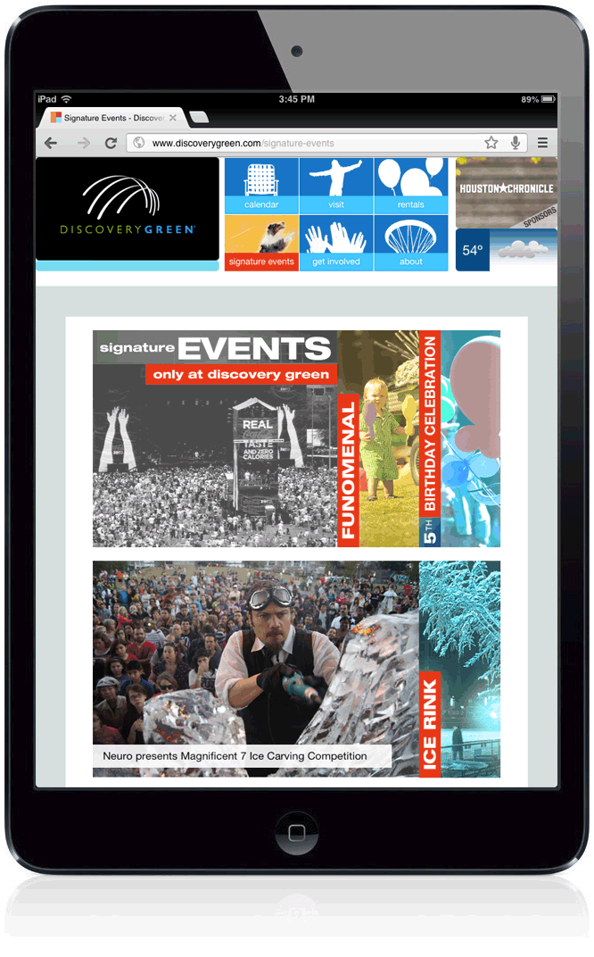 Discovery Green Website: Tablet Layout