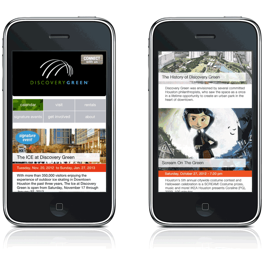 Discovery Green Website: Mobile Layout